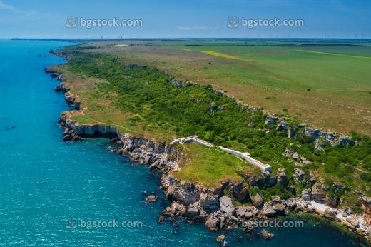 антична крепост яйла от високо с дрон